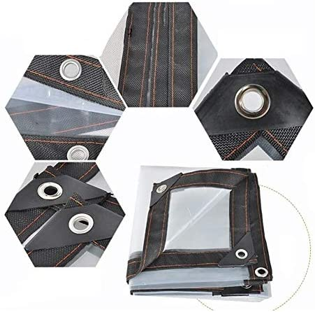FQJYNLY 防水シートレインカバープラスチック保護フィルム金属リングボタンホール屋外ガーデニング、25サイズ (Color : Clear, Size : 3x4m)