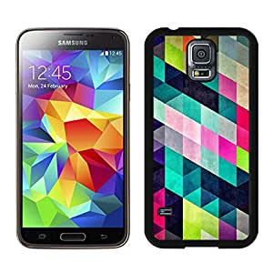 Fashionable and DIY Case Colorful Stylish Geometric Triangles Black Phone Case for Galaxy S5 I9600