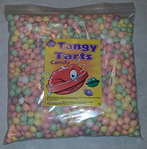 Dubble Bubble Tangy Tarts Uncoated Candy Assorted Colors, 5 Pounds Vending Hard Candy. Includes a Free Product Card