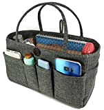 Large Tote Organizer, Purse Organizer, Handbag organizer,15 pockets : Large Size By K&M (Gray)