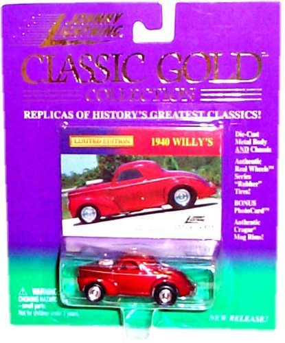 1999 - Playing Mantis / Johnny Lightning - Classic Gold Collection - 1940 Willy's - Red - 1:64 Scale Die Cast - Bonus Photo Card - Cragar Rims - RARE - Out of Production - MOC - Limited Edition - Collectible ()