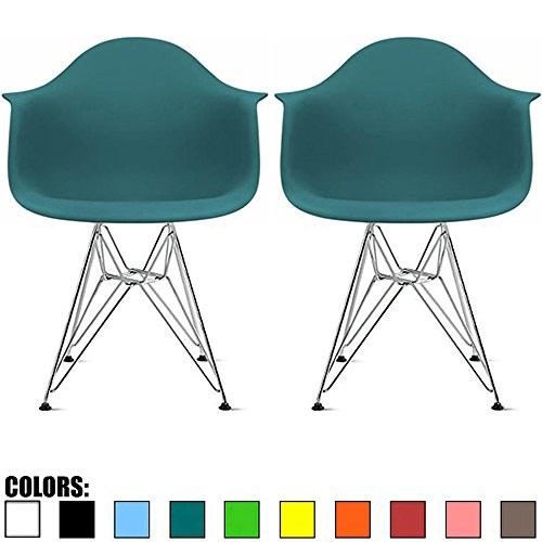 2xhome Set of 2 Teal Mid Century Modern Vintage Designer Molded Shell Plastic Armchair with Arms Back Chrome Wire Metal Base Eiffel Dining Chairs Living Room Accent Dowel Office Guest Work Desk DAR