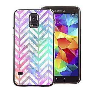 A-type Arte & diseño plástico duro Fundas Cover Cubre Hard Case Cover para Samsung Galaxy S5 (Chevron Pattern Iridescent White Purple)