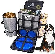 Dog Travel Bag Dog Supply Organizer Backpack Pet Travel Bag with 1* Dog Treat Bag, 2* Collapsible Dog Bowls, 1