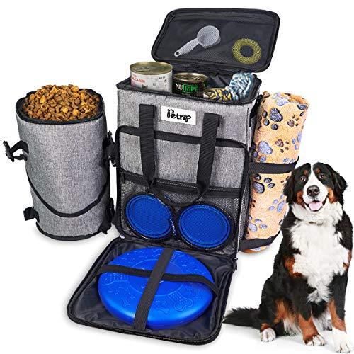Dog Travel Bag Dog Supply Organizer Backpack Pet Travel Bag with 1* Dog Treat Bag, 2* Collapsible Dog Bowls, 1* Pet…
