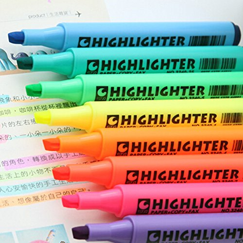 Multi-Color Highlighter Pen Marker Paint Pens set Marker Coloring Pens Highlighters Christmas Gifts Pack of 8