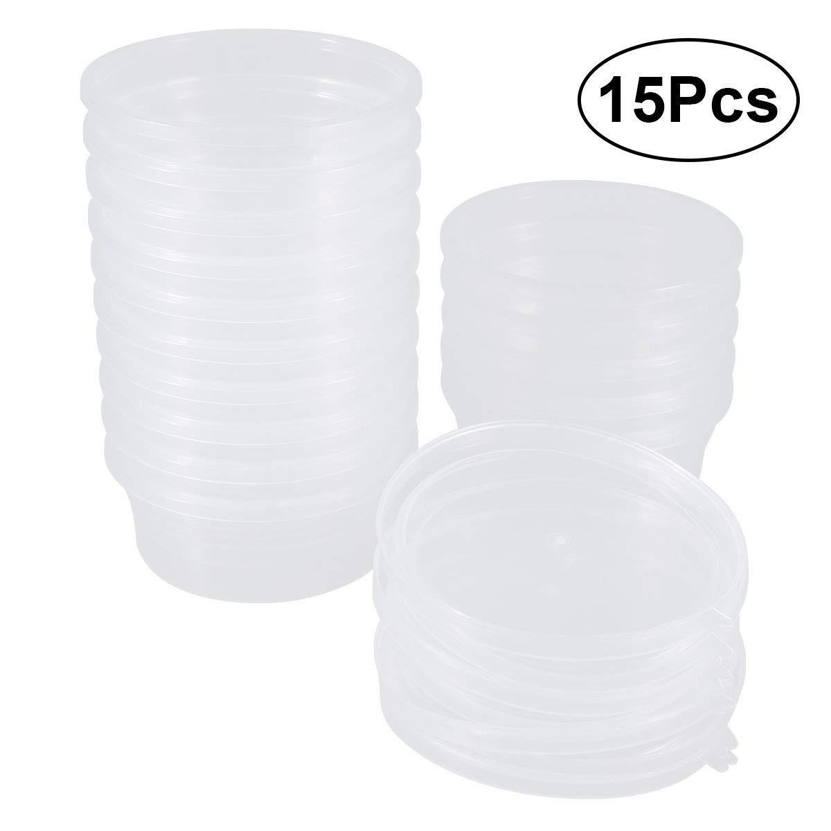 Rosenice Contenitori per palline di gomma e slime con coperchi, capienza 20g, confezione da 15