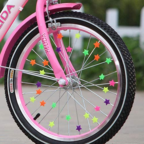 36pcs Bicycle Wheel Spoke Beads Plastic Spoke Clip Bike Star Decoration Gifts