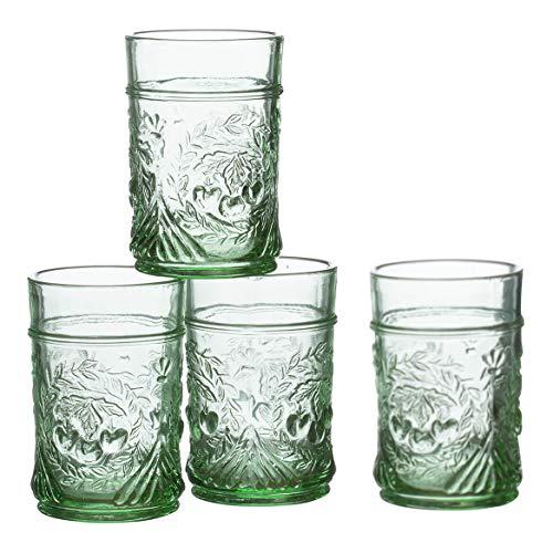 (William Roberts Pressed Juice Glasses, Set of 4, Vintage Green)