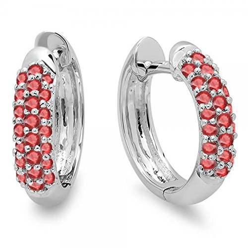 Dazzlingrock Collection 0.30 Carat (ctw) 18K Round Ruby Ladies Pave Set Huggies Hoop Earrings 1/3 CT, White Gold