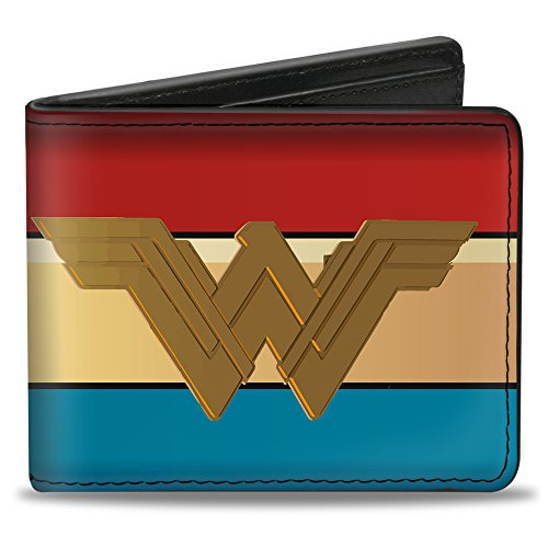 Buckle-Down PU Bifold Wallet - Wonder Woman 2017 Icon/Stripe Red/Golds/Blue (Wonder Woman Wallet)