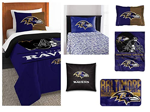 Northwest NFL Baltimore Ravens Ultimate 8pc Ensemble: Includes twin comforter, sham, twin flat sheet, twin fitted sheet, pillowcase, rug, toss pillow, and oversized throw