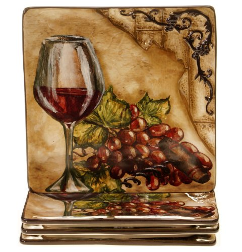 Certified International 43242SET/4 Tuscan View Salad/Dessert Plate, Set of 4, 8.5