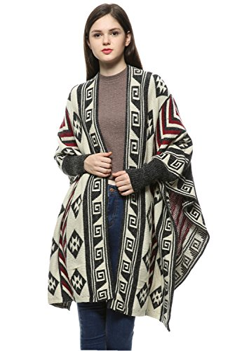 [Women's Knitted Cardigan Geometric Pattern Bat Sleeve Sweater Shawl Capes Coat (Red/Black/White)] (Black And White Cape)