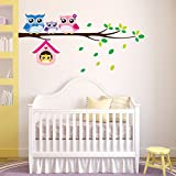 BIBITIME Owl Family Playing on Branches Wall Decal Sticker Nursery Wallpaper Decals