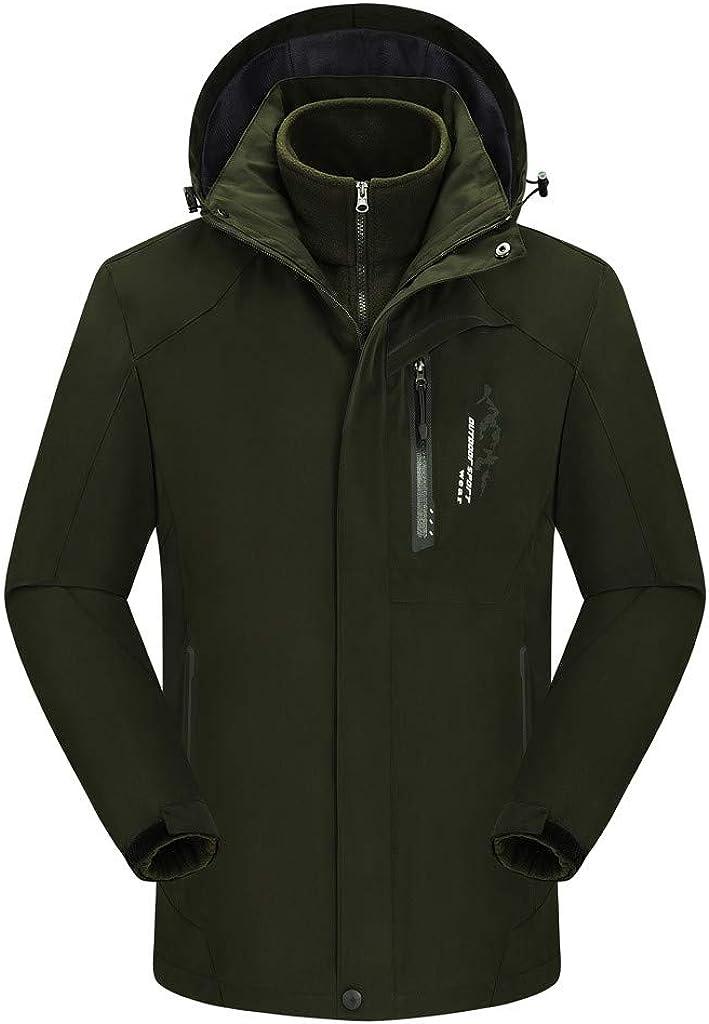 Winter Rainproof Zipper Hooded Jacket Tight Warm Base Layer Tops Gleamfut Mens 2 Piece Hooded Windproof Coat