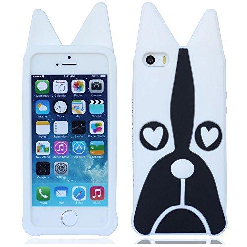 Morbido silicone gomma cane protezione cover custodia guscio case shell per iPhone 5 5G 5S(non può andare bene 5C)_bianco