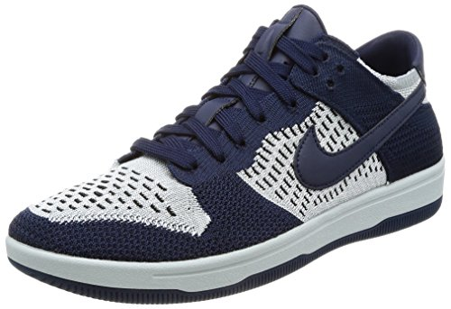 Nike Men's Dunk Flyknit College Navy/Wolf Grey Ankle-High Basketball Shoe - 10M ()