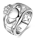 LineAve Unisex Stainless Steel Irish Claddagh Friendship Love Ring Size 6, 1c5013s06