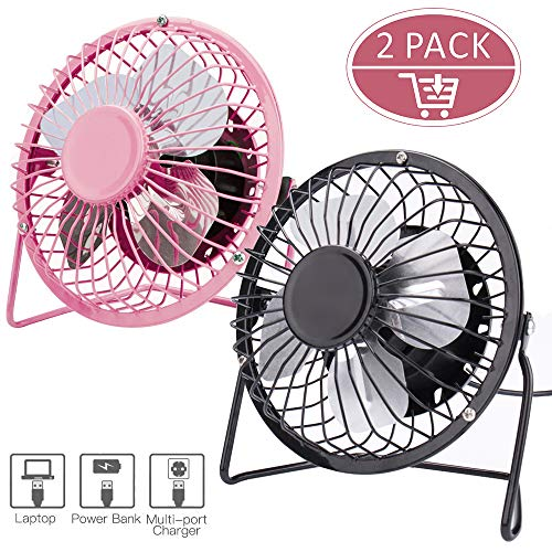 Ezire 2-Pack Mini USB Desk Fan, 6 Inch Small Fan Personal Metal USB Table Fan, High Compatibility, Quiet Operation Suitable for Home Office Personal Cooling (Black & Pink)