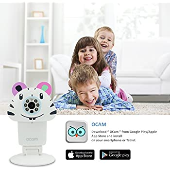 OCam-Zoo Wi-Fi Wireless Baby Monitor Security Video Camera & Nanny Cam DVR iPhone iPad iOS Android (Zebra)