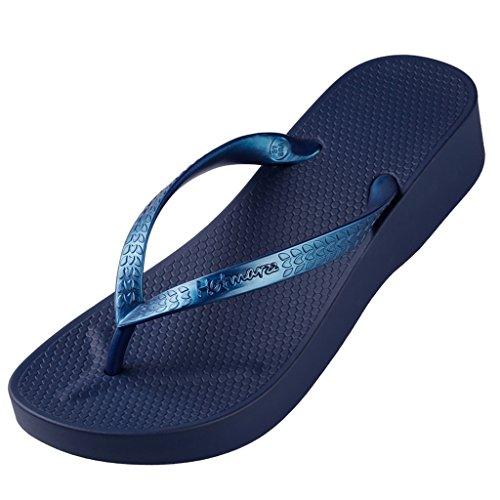 Women's Sandals Heel High Blue Hotmarzz Summer Platform Wedge Beach Stylish Slippers Flops Fashion Flip pzqaawdFg