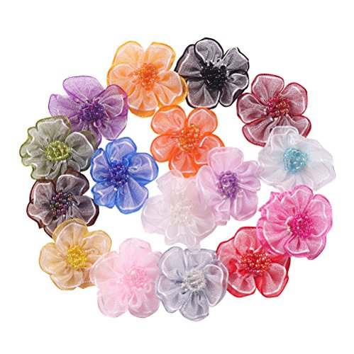 (YAKA 48pcs Mix 1.2inch Organza Ribbon with Beads Flowers Rose Appliques Craft Wedding Christmas Gift Accessories Ornament 16 Color)