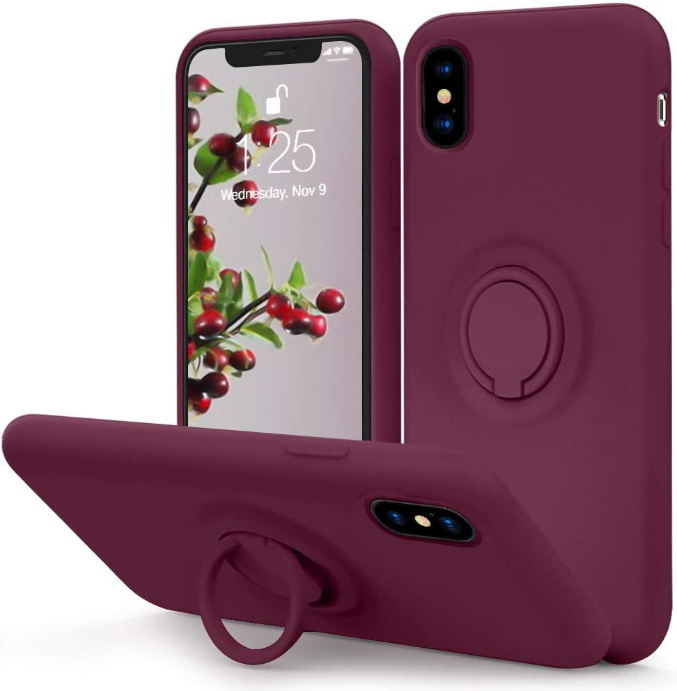 MOCCA for iPhone Xs Case, iPhone X Silicone Case with Kickstand | Anti-Scratch | Soft Microfiber Lining Full-Body Shockproof Protective Case for iPhone Xs/X - WineRed