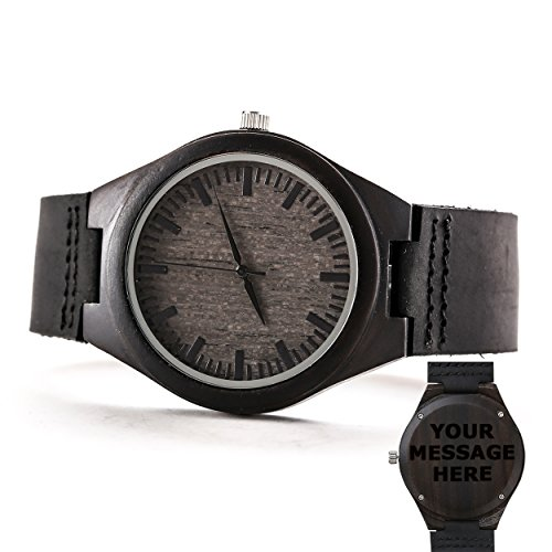 Custom Men Engraved Wooden Watches Personalized Leather Strap Casual Ebony Wristwatch by Famgem by Famgem
