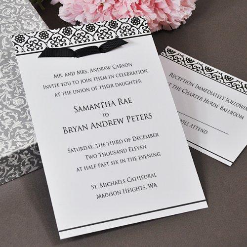 (Black & White Damask Invitations Kit)
