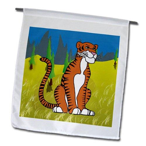 Kids Stuff Animals - Tiger who loves to smile - 18 x 27 inch Garden Flag (fl_5734_2)