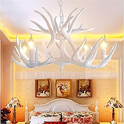 4 Lights Vintage Antler Chandelier Light Retro White Deer Horn Dining Pendant Lamp PL482-4WH