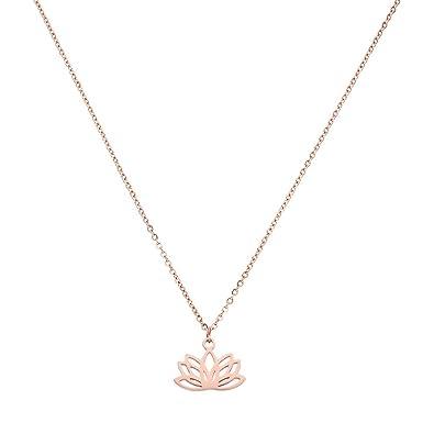 purelei Lotus Collar Acero Inoxidable Cadena de collar hecho ...