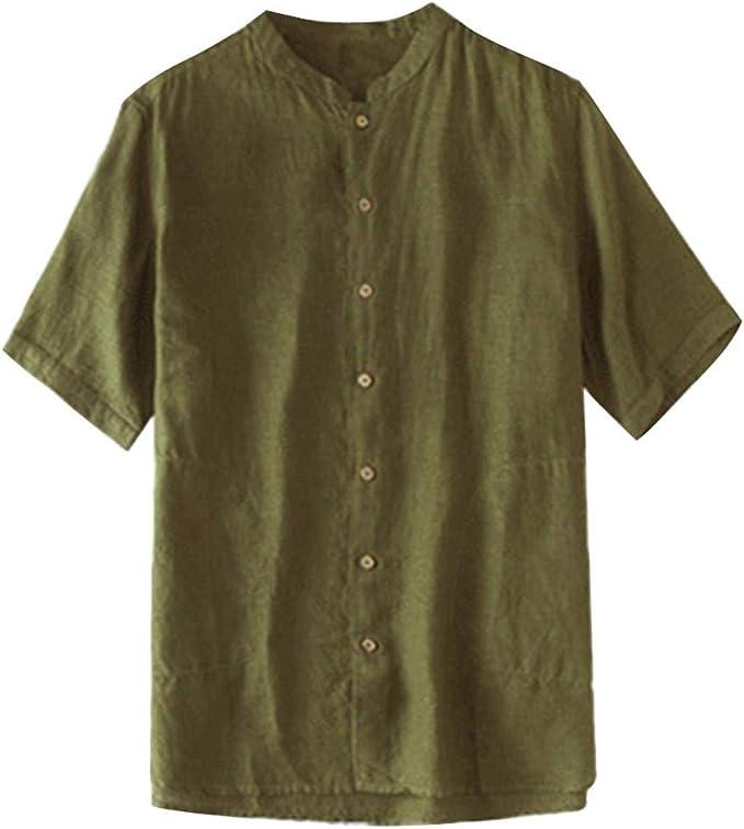Mens Summer Slim Fit Half Sleeve Top Solid Color Cotton Round Neck Shirt Blous Teresamoon