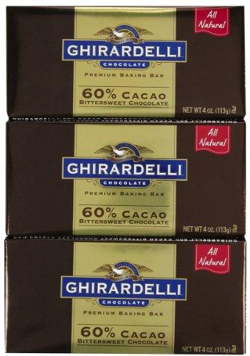 Cacao Chocolate 60% Bittersweet (Ghirardelli Bitter Sweet Baking Bar, 60% Cacao, 4 oz, 3 pk)