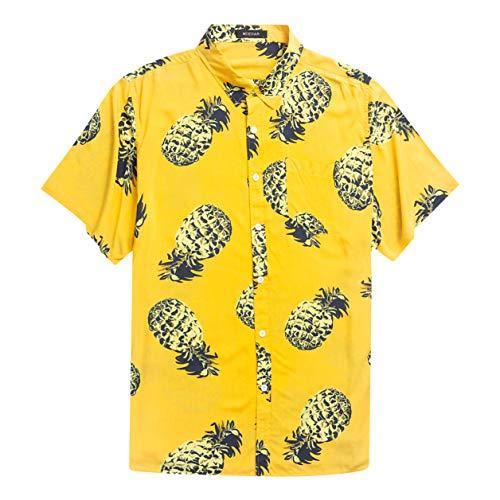 Men's Hawaiian Short Sleeve Shirt- MCEDAR Aloha Flower Print Casual Button Down Standard Fit Beach Shirts (Large, YELLOW 4828) ()