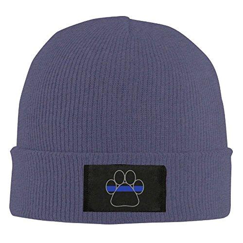 (Adult Blue Line K9 Paw Warm Acrylic Knit Beanie Hat Skull Cap)