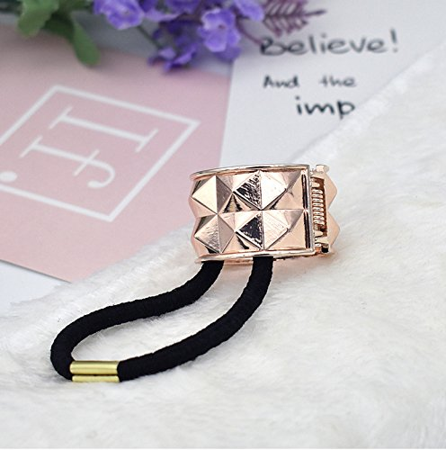 Vellhater Fashion Rivet Punk Style Hair Cuff Ponytail Clip Holder Rubber Bands (Rose Gold) ()