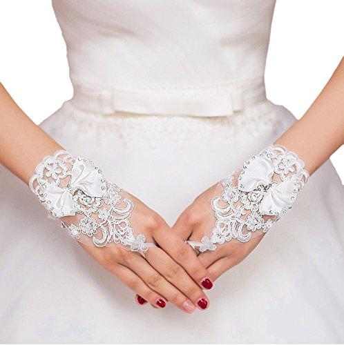 Short Lace Floral Rhinestone Bowknot Fingerless Wedding Party Bridal Gloves, White