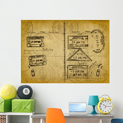 Wallmonkeys Grunge Passport Stamps Wall Mural Peel and Stick Vinyl Graphic (60 in W x 43 in H) WM244744