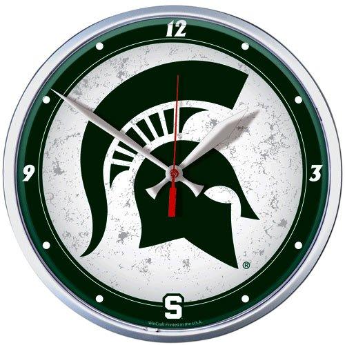 Round Wall State Clock (NCAA Michigan State University Round Wall Clock, 12.75
