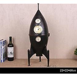 SU@DA Personalized clock creative ornaments ornaments rocket iron wine rack storage 22 ??22 ??66cm , 4 inches , black