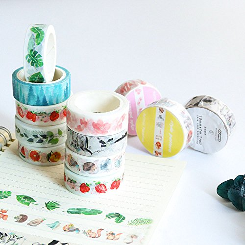 Washi Tape Skinny Colored Masking Tape with Cute Pattern Labelling Tape Graphic Art Tape Roll for Fun Great for DIY Decor Scrapbooking Sticker Masking Paper Decoration Tape Adhesive (Forest) by paway (Image #5)