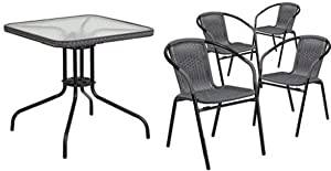 Flash Furniture 28'' Square Glass Metal Table with Gray Rattan Edging and 4 Gray Rattan Stack Chairs