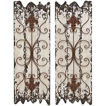 Captivating Deco 79 Elegant Wall Sculpture Wood Metal Wall Decor, 32/11 Inch, Set Of 2