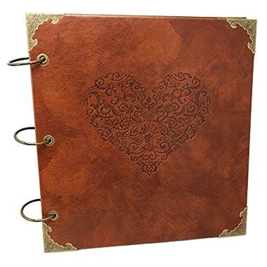 Love Heart - Premium Quality Embossed Expandable PU Leather Scrapbook DIY Photo Album Sketchbook (Brown Kraft Paper)