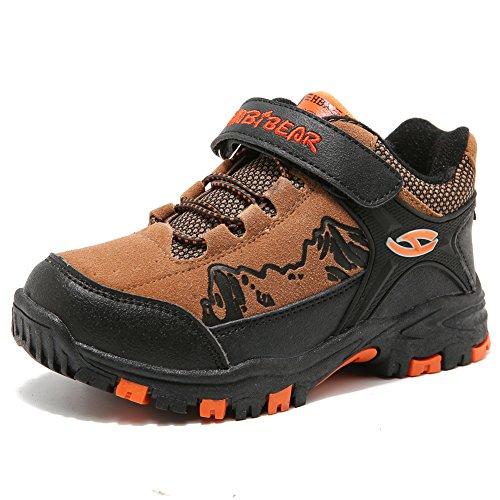 HOBIBEAR Boys Outdoor Hiking Shoes Kids Waterproof Athletic Sneakers (11, Brown)