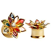 KUBOOZ Fashion Colorful Dream Flower Elegant Ear Plugs Tunnels Gauges Stretcher Piercings Jewelry