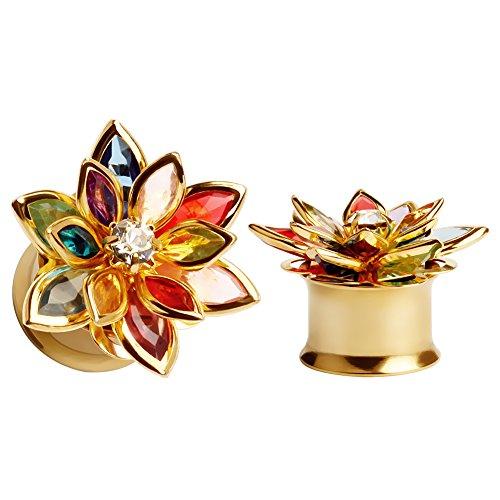Ear Plugs Body Jewellery - KUBOOZ Fashion Colorful Dream Flower Elegant Ear Plugs Tunnels Gauges Stretcher Piercings Jewelry