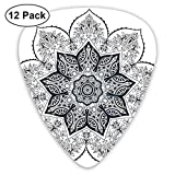 Guitar Picks - Abstract Art Colorful Designs,Ethnic Mandala Asian Style Spiritual Meditation Yoga Culture Bohemian Image,Unique Guitar Gift,For Bass Electric & Acoustic Guitars-12 Pack